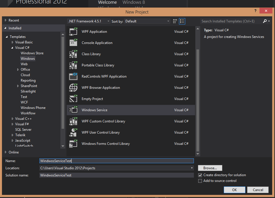 Develop windows service c#
